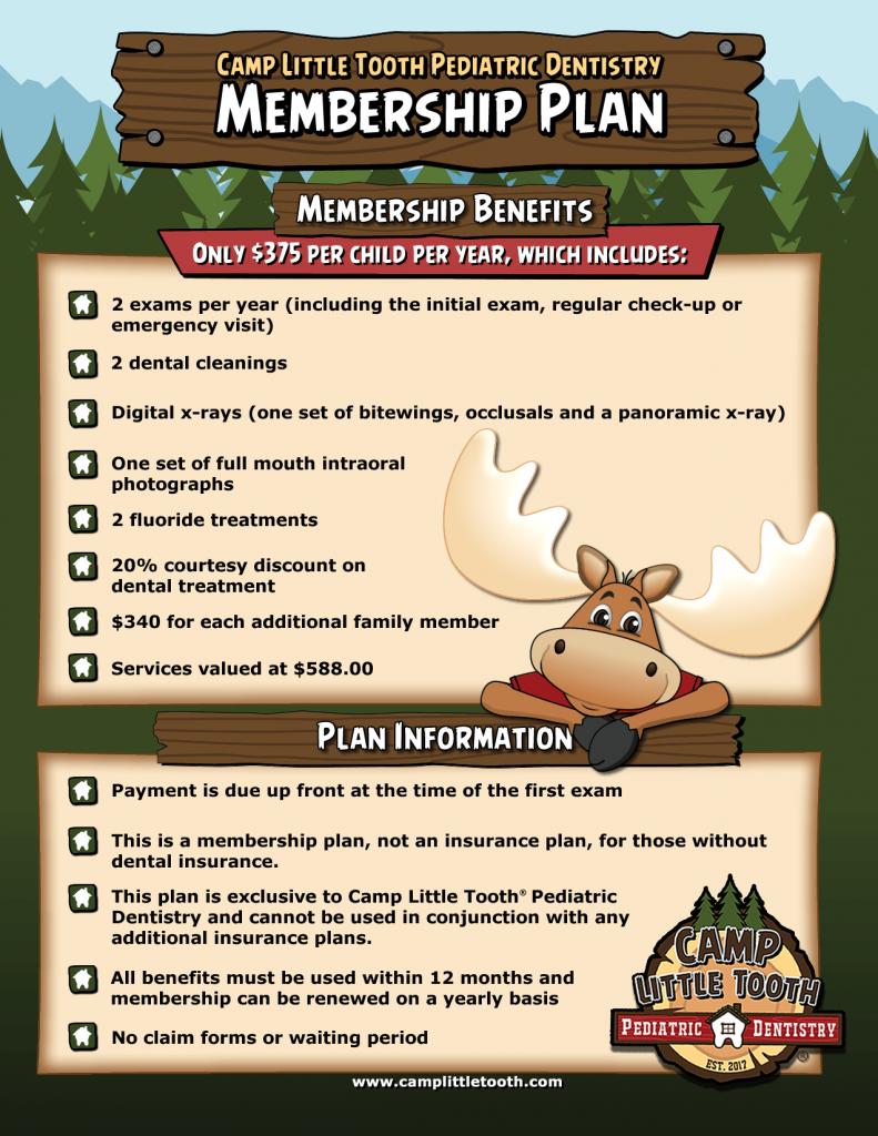 Membership plan - Camp Little Tooth Pediatric Dentistry